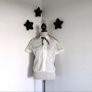 Vtg 40s Nylon Sheer Off-White Short Sleeve Blouse
